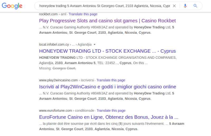 honeydew trading ltd google search casino connections