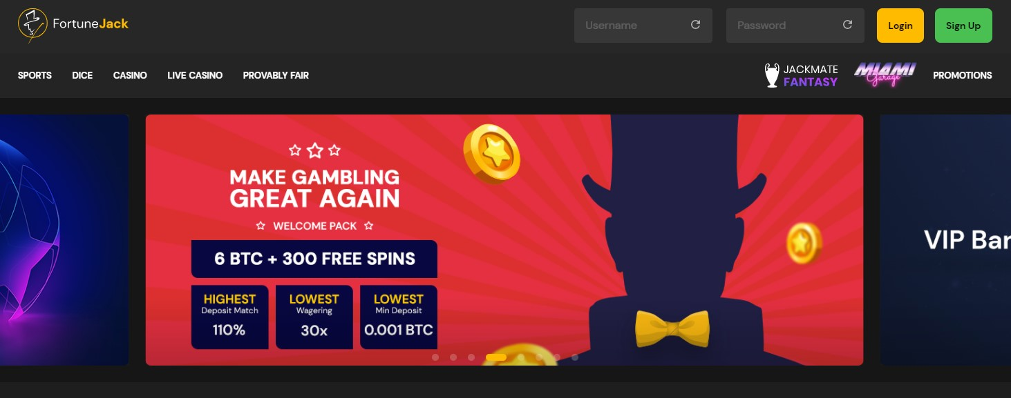 FortuneJack Casino Landing page