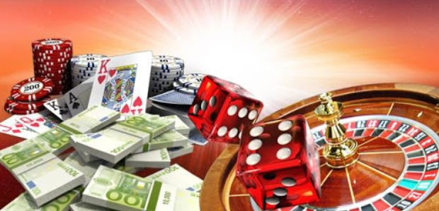 Casino implements together with money packs in front of a roulette