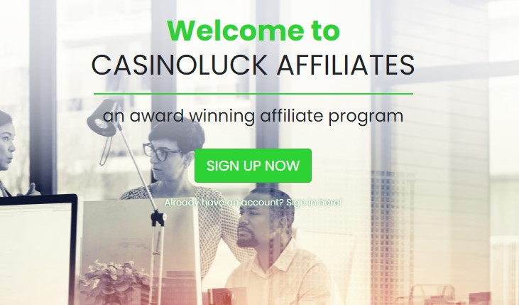 CasinoLuck Affiliates Landing Page