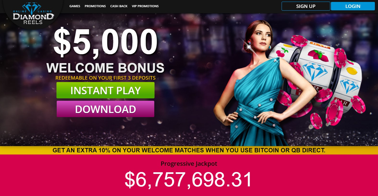 Diamond Reels Casino Landind Page