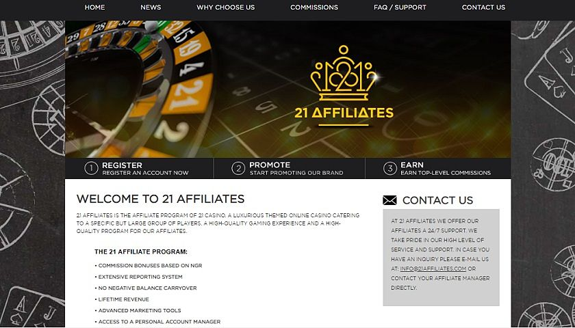 21 Affiliates captura de pantalla