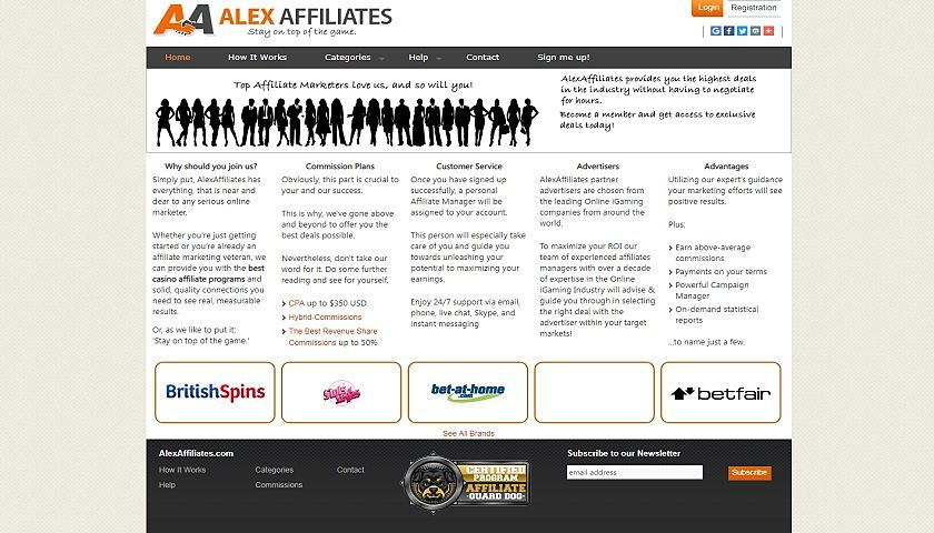 Alex Affiliates screenshot