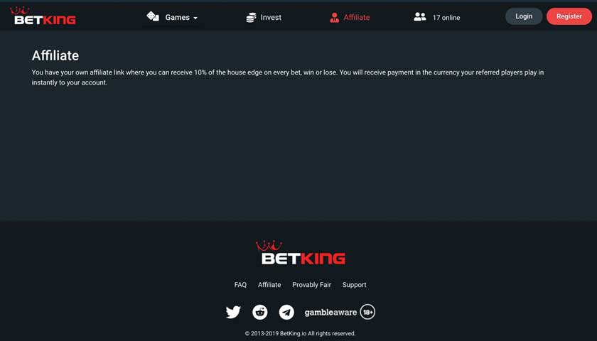 BetKing Affiliate captura de pantalla