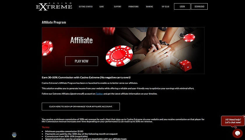 Casino Extreme Affiliates captura de pantalla
