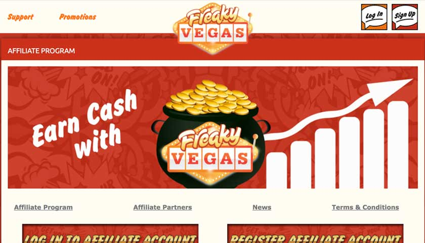 FreakyVegas Affiliates screenshot