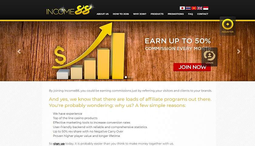 Income88 Affiliates screenshot