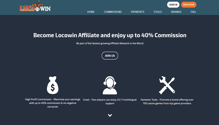 Locowin Affiliates screenshot
