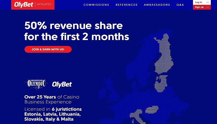 OlyBet Affiliates screenshot