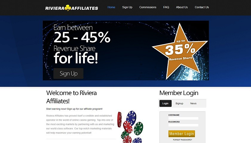 Riviera Affiliates screenshot
