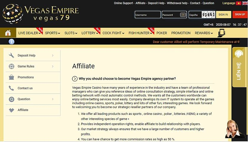 Vegas Empire Affiliates screenshot