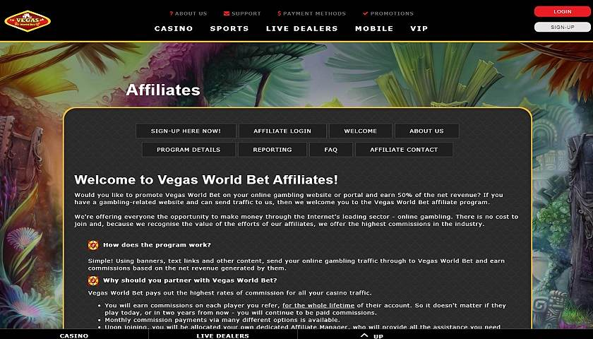 Vegas World Bet Affiliates screenshot