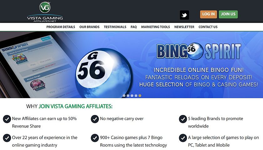 Vista Gaming Affiliates captura de pantalla