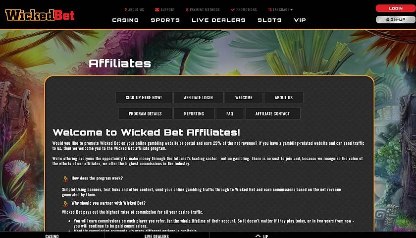 WickedBet Affiliates screenshot