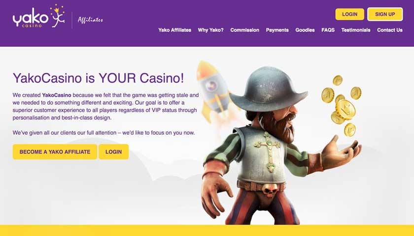 YakoCasino Affiliates screenshot