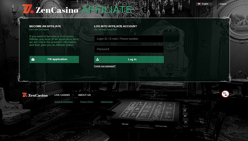 ZenCasino Affiliate captura de pantalla